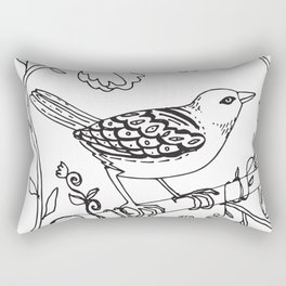 Bird on a Branch, Line Drawing Rectangular Pillow
