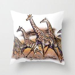 Giraffe Herd Throw Pillow