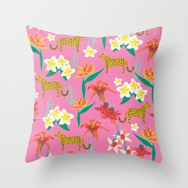 Exotic Flowers and Cheetahs Pink Throw Pillow