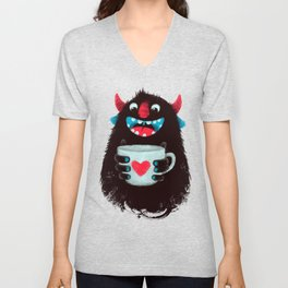 Demon with a cup of coffee (contrast) Unisex V-Neck