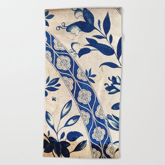 Blue Oriental Vintage Tile 04 Beach Towel