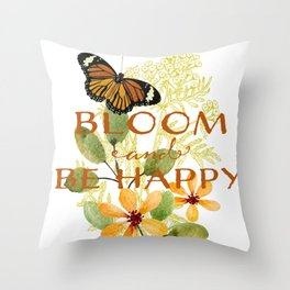 Butterfly Blooms Watercolor Throw Pillow