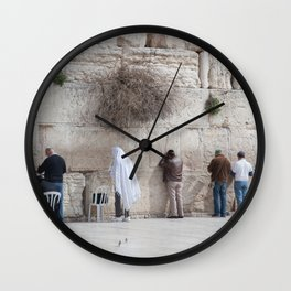Praying at the Wailing Wall or Western Wall Wall Clock