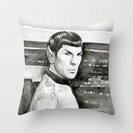 Spock Leonard Nimoy Portrait Sci-fi Geek Painting Throw Pillow