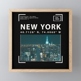New York City, Skyline and Facts Framed Mini Art Print