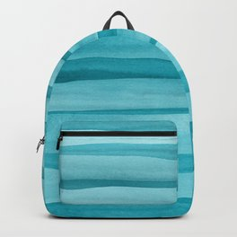 Teal Watercolor Lines Pattern Backpack