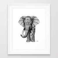 gray pattern Framed Art Prints featuring Ornate Elephant by BIOWORKZ