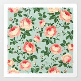 Roses on Turquoise Art Print