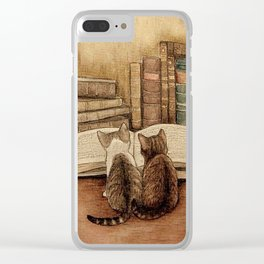Kittens Reading A Book Clear iPhone Case