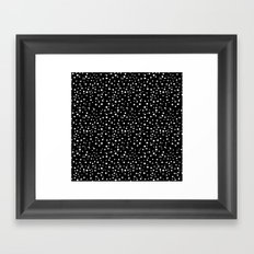 PolkaDots-White on Black Framed Art Print