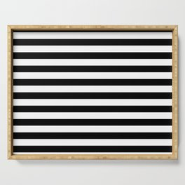 Black and White Horizontal Strips Serving Tray