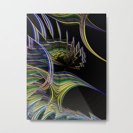 Fantasy phoenix bird neon abstract digital fractal painting Metal Print