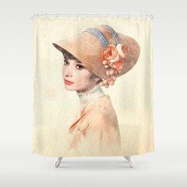 Audrey Hepburn - Eliza Doolittle - Watercolor Shower Curtain