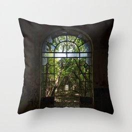 Arched door with broken windows in an old dilapidated Italian building Throw Pillow