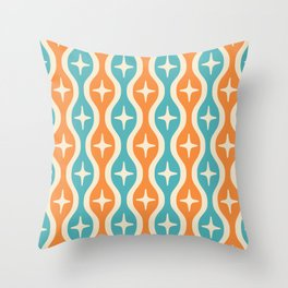 Mid century Modern Bulbous Star Pattern Orange and Turquoise Throw Pillow