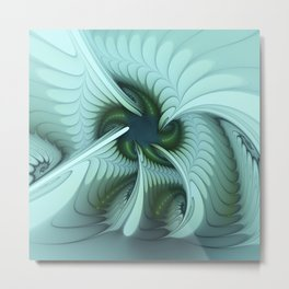 Green Lights in a blue Fantasy Fractal Metal Print