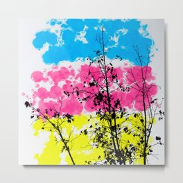 tree branch with leaf and painting texture abstract background in blue pink yellow Metal Print