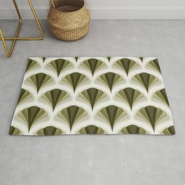 Olive Green and Ivory Retro Peacock Design Pattern Rug