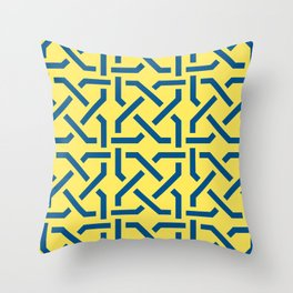Abstract yellow-blue pattern Throw Pillow