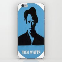 tom waits iPhone & iPod Skins featuring Tom Waits Record Painting by All Surfaces Design