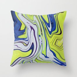 Smooth Lime Blue Abstract Vibrant Vivid Throw Pillow