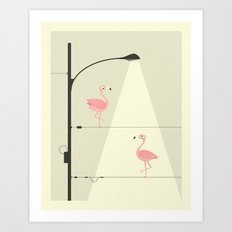 PINK FLAMINGOS ON A WIRE Art Print