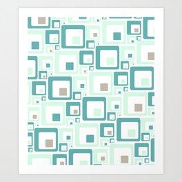 Retro Squares Mid Century Modern Background Art Print