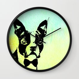 Boston Terrier in a Bow Tie Wall Clock