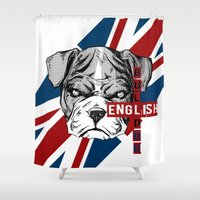 english bulldog Shower Curtains featuring English Bulldog by Det Tidkun