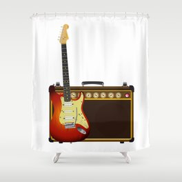 Guitar And Aplifier Shower Curtain