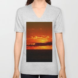 Sunset with Silver lined Clouds Unisex V-Neck