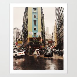 Hong Kong in the Rain Art Print