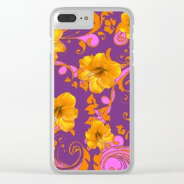 TROPICAL YELLOW & GOLD AMARYLLIS FLOWERS PATTERN Clear iPhone Case