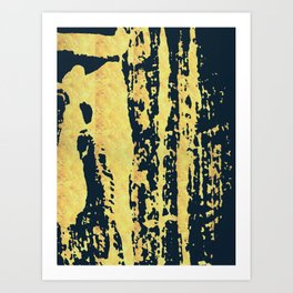 Conquer: a bold, pretty abstract piece in gold and midnight blue Art Print