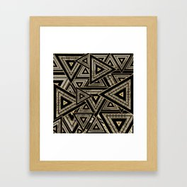 Gold and Black Triangle Abstract Multi Pattern Design Framed Art Print