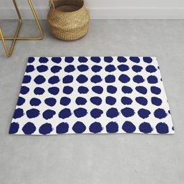 Aria - indigo brushstroke dot polka dot minimal abstract painting pattern painterly blue and white  Rug