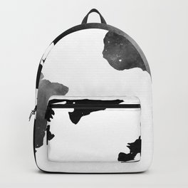 World Map Space Stars Black and White Backpack