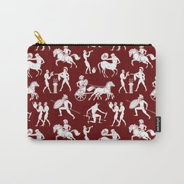 Greek Figures // Burgundy Carry-All Pouch