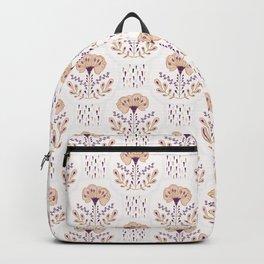Flat Color Folk Art Flower Damask Pattern Seamless, Hand Drawn Vector Backpack