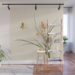 Oriental style painting - orchid flowers and butterfly 003 Wall Mural