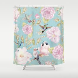 Pastel Teal Vintage Roses and Hummingbird Pattern Shower Curtain