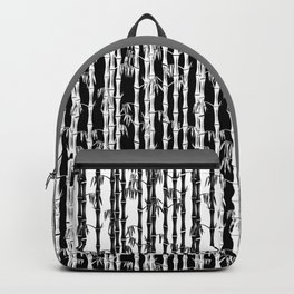 Bamboo Forest Pattern - Black White Grey Backpack