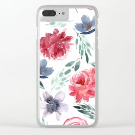 Moody Large Florals | Watercolor Clear iPhone Case