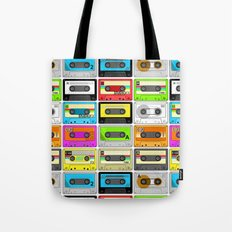 Retro 80s Cassette Tape Pattern Tote Bag