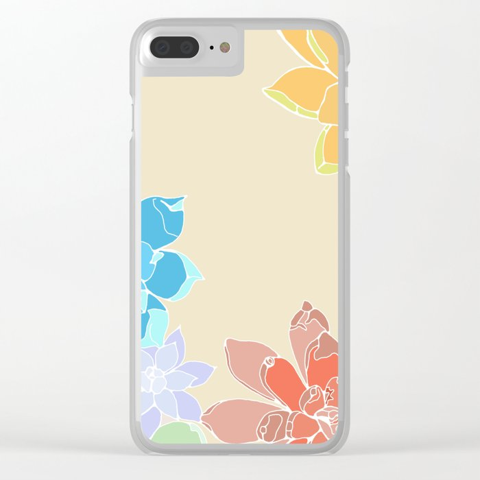 Vintage 5 Succulents Clear iPhone Case
