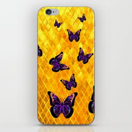 DARK MONARCH BUTTERFLIES ON GOLDEN DIAMOND PATTERNS iPhone Skin