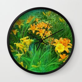 Day-glo Lilies Wall Clock