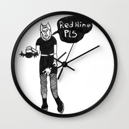 Goth Girl Red Wine Pls Wall Clock