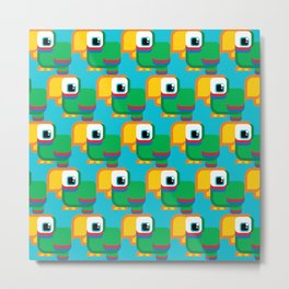 Green, blue and red parrot - Pretty little birdies Metal Print