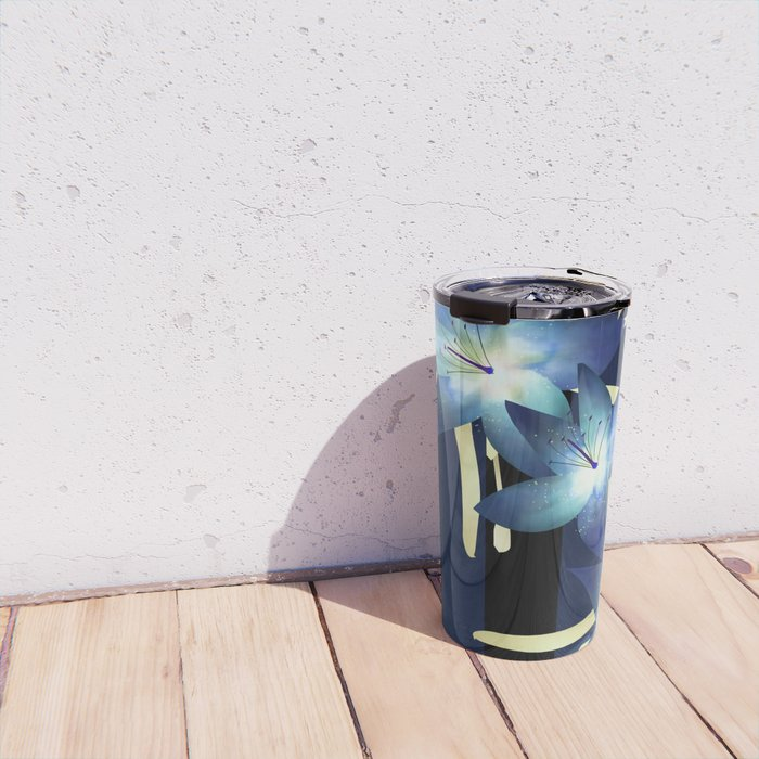 Dark blue lilies 2 Travel Mug